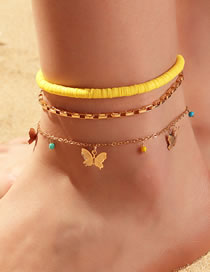 Fashion Yellow Soft Ceramic Butterfly Rice Bead Alloy Multi-layer Anklet