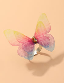 Fashion Color Mixing Double Diamond-set Tulle Butterfly Open Ring