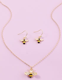 Fashion Yellow Three-dimensional Diamond Drop Oil Bee Earring Necklace Set
