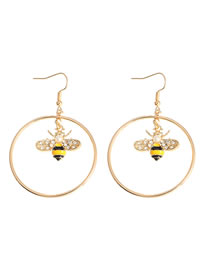 Fashion Golden Diamond Dropped Bee Alloy Pearl Round Earrings