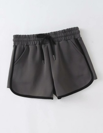 Fashion Gray Contrast Drawstring Elastic Waist Sweatpants