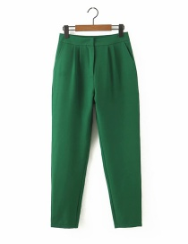 Fashion Green Solid High Waist Straight Trousers