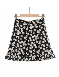Fashion Small Chrysanthemum Floral Print A-line Skirt