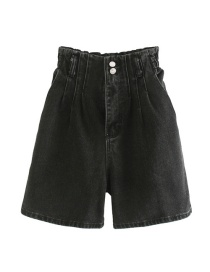 Fashion Gray Washed Paper Bag High Waist Denim Shorts