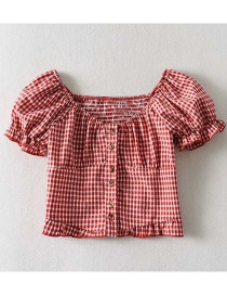 Fashion Red Checked Single-breasted Shirt With Elasticated Back
