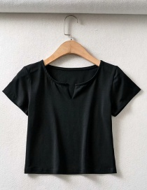 Fashion Black V-neck Solid Color Short Sleeve Slim Pullover T-shirt