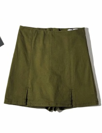 Fashion Army Green Washed Double Slit Jeans Skirt