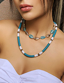Fashion Golden Resin Shell Alloy Multi-layer Necklace