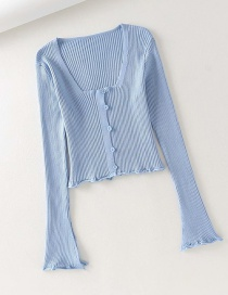 Fashion Blue V-neck Front Buckle Stretch Rib Knit Cardigan