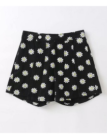 Fashion Small Chrysanthemum On Black Washed Loose Printed Pleated Jeans