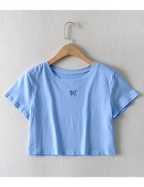 Fashion Blue Short Sleeve T-shirt With Loose Butterfly Print