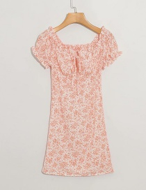 Fashion Pink Floral Print Elastic Dress