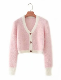 Fashion Pink Stitching Contrasting Plush Long-sleeved Single-breasted Cardigan Sweater