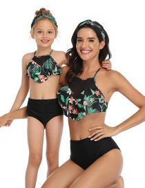 Fashion Up Green Flowers And Down Black Pants Printed Stitching Mesh High Waist Parent-child Split Swimsuit