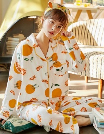 Fashion White Pure Cotton Long-sleeved Printed Lapel Loose Home Wear Pajamas