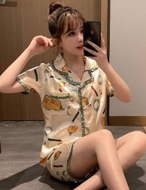 Fashion Princess Duck Ice Silk Short Sleeve Baby Collar Printed Pajama Set