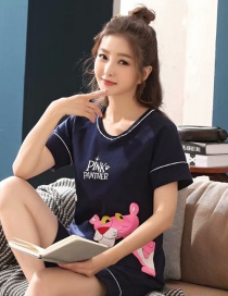Fashion Pink Panther Thin Section Short Sleeve Cotton Printed Pajamas Set