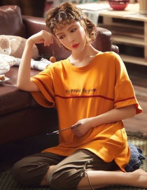 Fashion Orange Love Letter Short-sleeved Cotton Thin Printed Pajama Suit