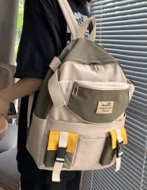 Fashion Green Without Pendant Canvas Stitching Contrast Color Buckle Diagonal Cross Chest Bag Backpack