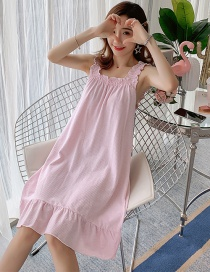 Fashion Pink Thin Cotton Lace Suspender Nightdress With Chest Pad
