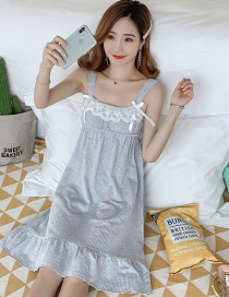 Fashion Gray Thin Cotton Lace Suspender Nightdress With Chest Pad