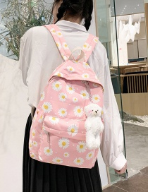Fashion Pink Nylon Daisy Print Backpack