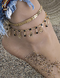 Fashion Golden Alloy Resin Flower Resin Chain Bracelet Anklet Set
