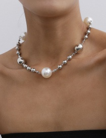 Fashion White K Imitation Pearl Handmade Round Bead Necklace