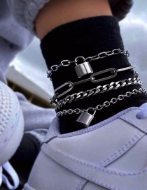 Fashion Lock Shape Lock-shaped Chain Alloy Hollow Multi-layer Anklet