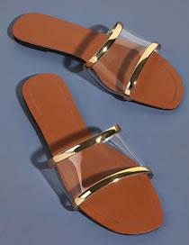 Fashion Golden Transparent Flat Slippers