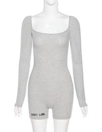Fashion Gray Long-sleeved Square-neck Halter Slim Bottoming Jumpsuit