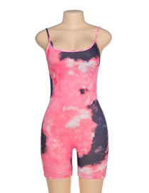 Fashion Pink Printed Jumpsuit With Suspenders