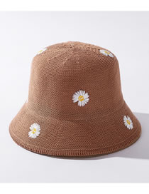 Fashion Camel Little Daisy Knitted Embroidered Fisherman Hat