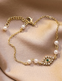Fashion Golden Diamond-shaped And Diamond-cut Pearl Bracelet