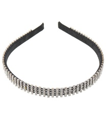Fashion Black Fully Drilled Toothed Non-slip Thin-edged Headband
