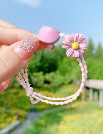 Fashion Pink Daisy Resin Geometric Knotted Hair Rope