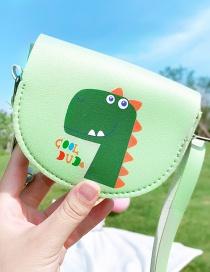 Fashion Little Green Dinosaur Flower Dinosaur Rabbit Stitching Contrast Color Crossbody Shoulder Bag