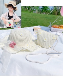 Fashion Daisy-off-white Suit Childrens Section (cap Circumference About 48-52cm) About 2-7 Years Old Flower Lace Butterfly Straw Sun Protection Hat Braided Rope Shoulder Bag