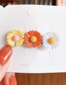 Fashion Trumpet-white Yellow Orange Small Daisy Resin Contrast Alloy Hair Clip