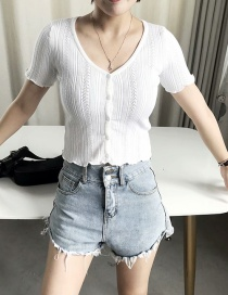 Fashion White Knitted V-neck Hollow Single-breasted Sweater