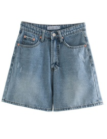 Fashion Blue Washed Denim High Waist Shorts