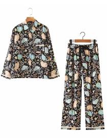Fashion Black Flower Print Shirt + Straight Trousers Suit