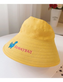 Fashion Little Dinosaur-yellow One Size (adjustable) To Send Windproof Rope Head Circumference About 48cm-53cm (recommended 3-8 Years Old) Little Daisy Dinosaur Embroidery Letter Empty Top Childrens Sun Hat