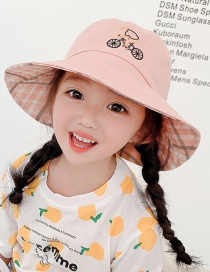 Fashion Bicycle-pink Head Circumference About 48-53cm 3-8 Years Old Alphabet Bicycle Embroidery Children Sunscreen Fisherman Hat