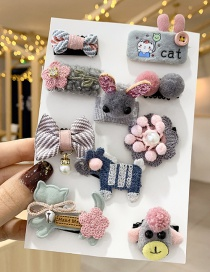 Fashion Cute Little Donkey [set Of 10] Sweater Knitted Bow Flower Animal Smiley Children Hairpin