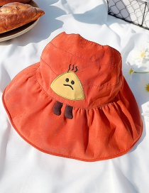 Fashion Orange Childrens Sun Hat With Rice Ball Embroidery Printing Stitching