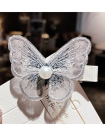 Fashion Gray Butterfly Mesh Embroidered Pearl Alloy Hair Clip