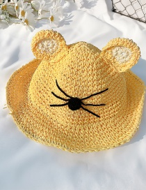 Fashion Yellow Cap Circumference About 52cm 2 Years Old-5 Years Old Straw Cats Hitting Childrens Sunscreen Fisherman Hat