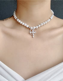 Fashion White Pearl Flash Diamond Cross Alloy Necklace