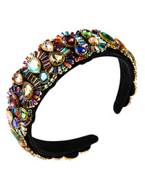 Fashion Color Drop-shaped Alloy Wide-brimmed Hair Band With Rhinestones